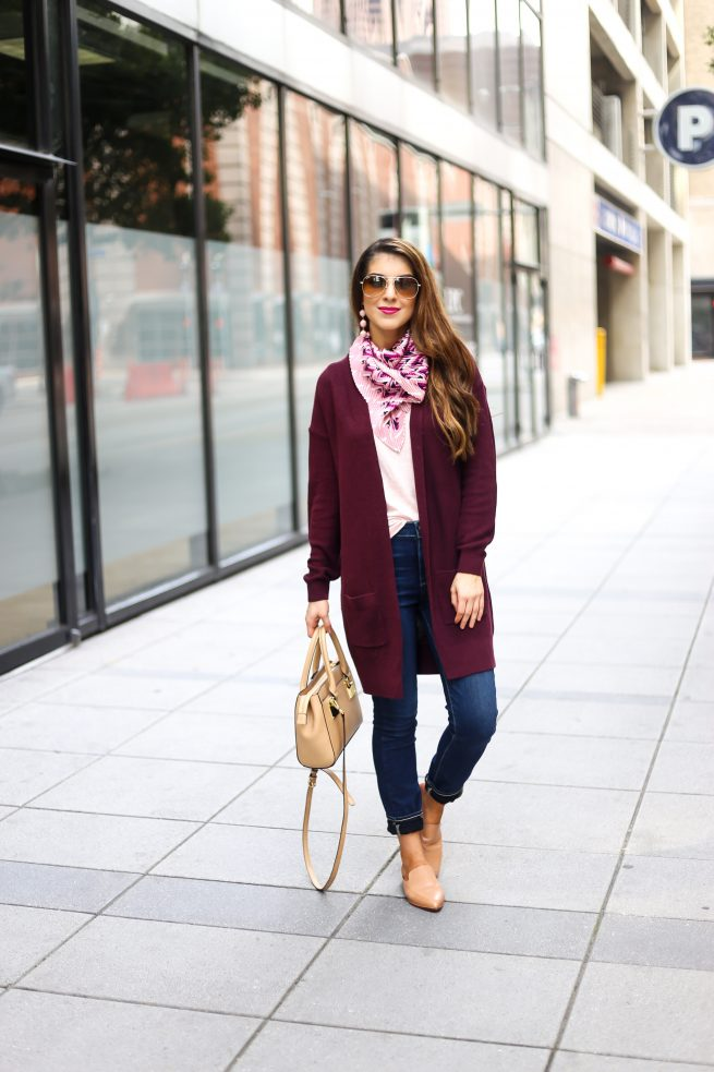 Burgundy Cardigan and Denim Jeans Outfit