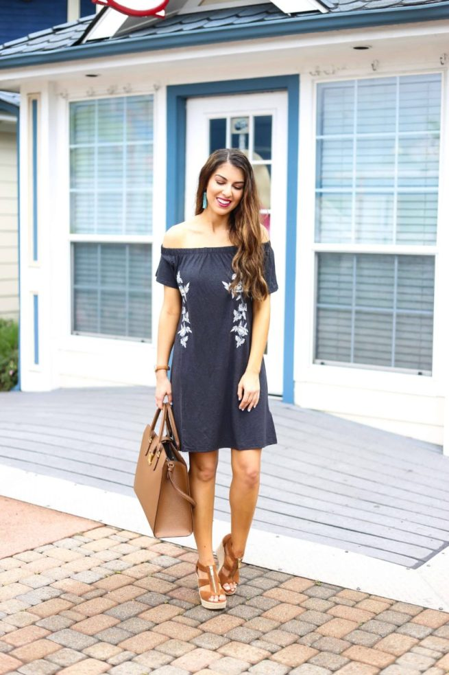 Black T Shirt Style Off the Shoulder Dress