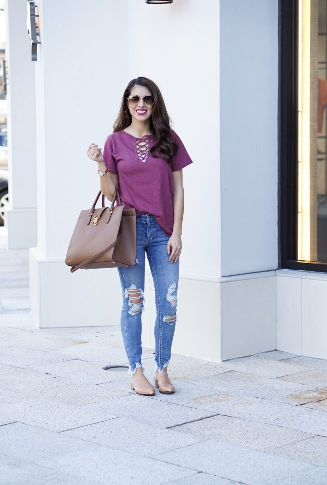 Burgundy Lace Up Tee with Jean Leggings