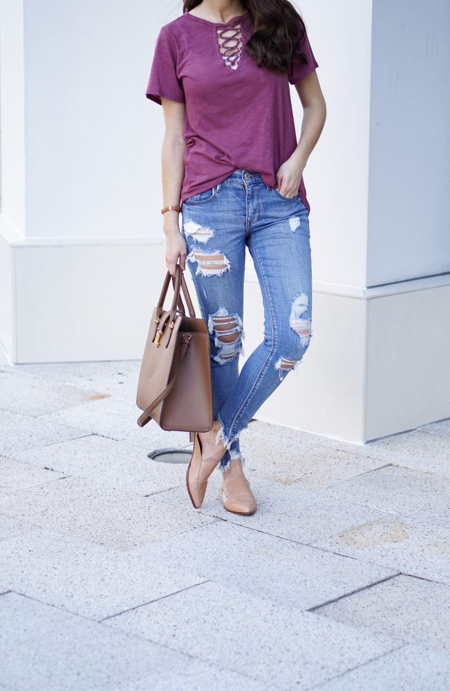 Burgundy Lace Up Top and Ripped Skinny Jeans