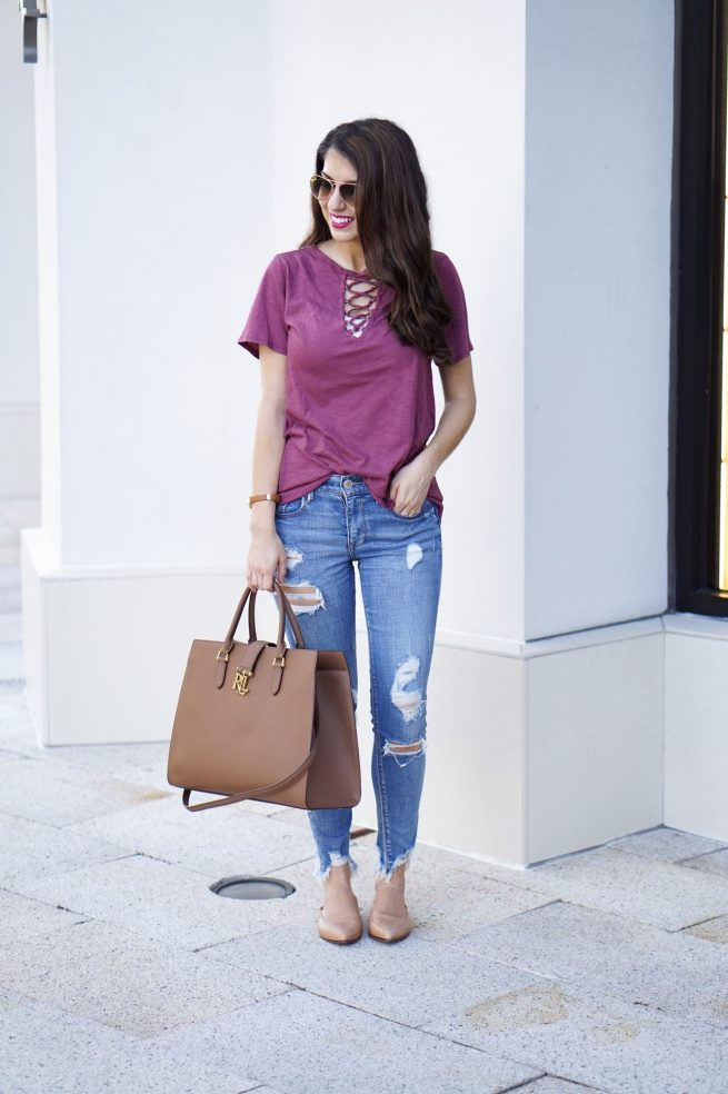 Burgundy Short Sleeve Lace Up Top