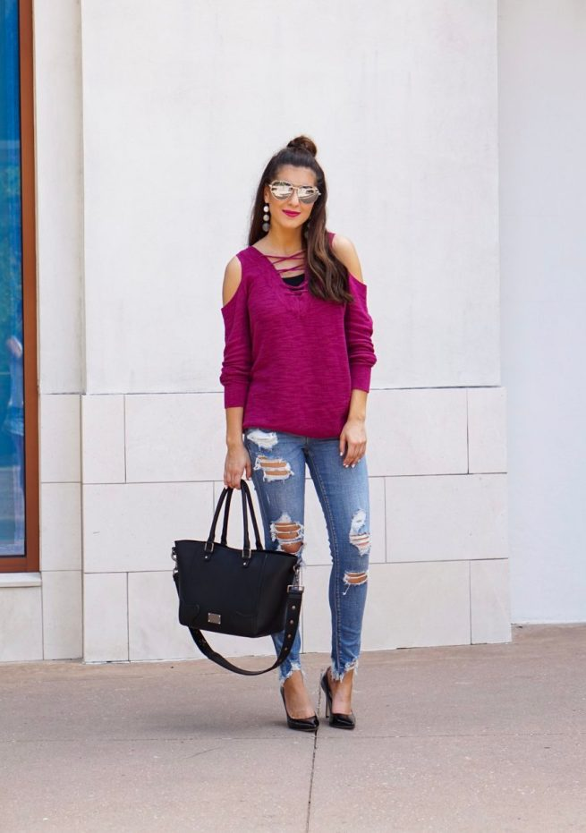 Lace Up Berry Colored Tunic Sweater