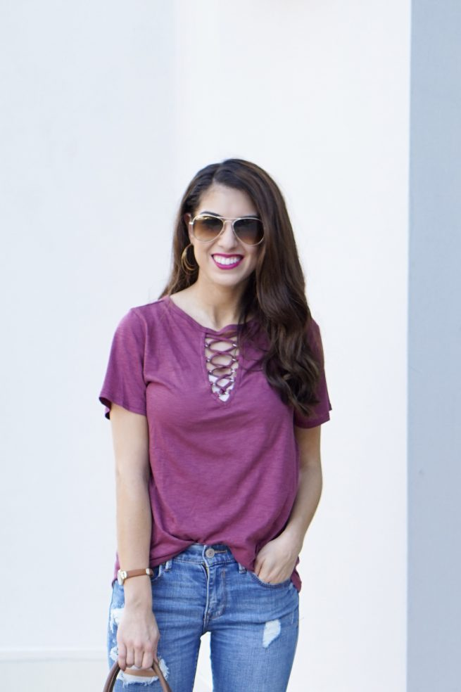 Maroon Lace Up Tee