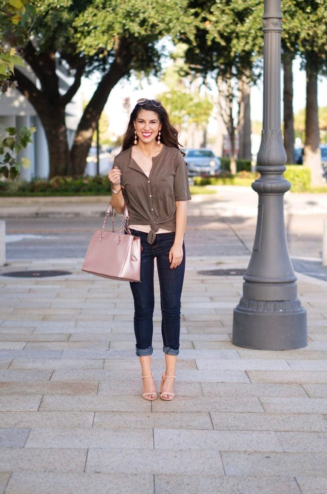 Olive Tie Front Blouse and Denim Jeans