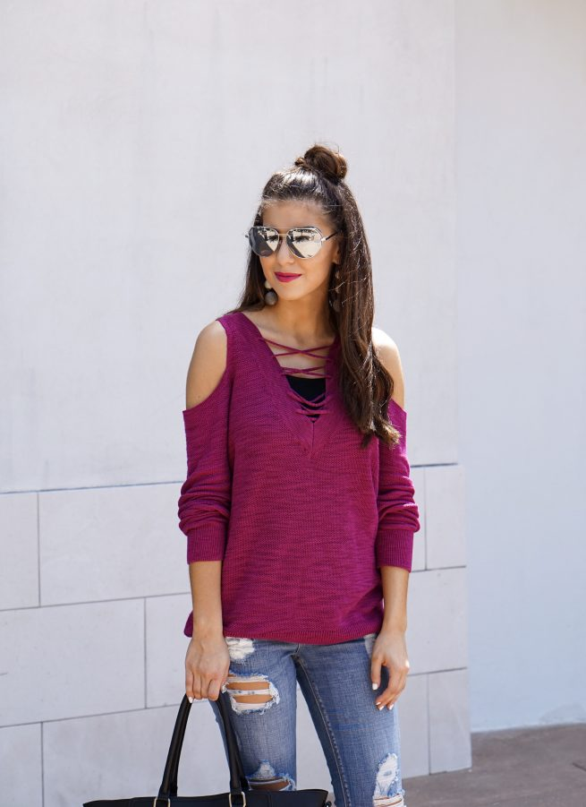 Berry Cold Shoulder Tunic Sweater