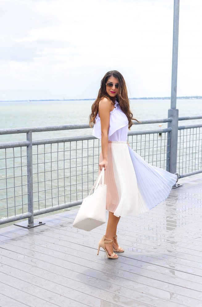 Colorblock Pleated Skirt for Summer