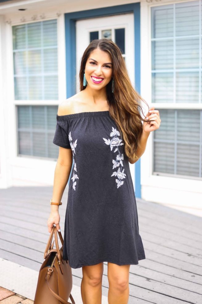 The Cutest Black Off the Shoulder Dress