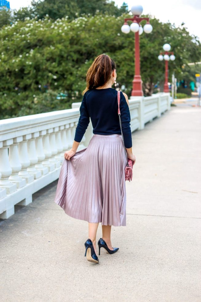 Black Cold Shoulder Sweater + Blush Pink Pleated Skirt