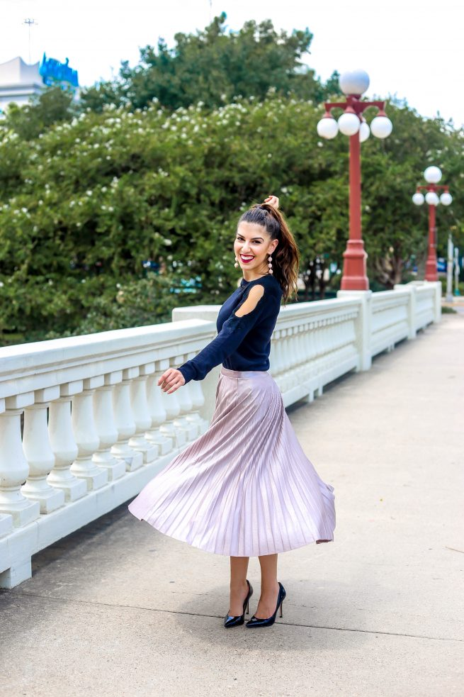 Blush Pink Pleated Midi Skirt