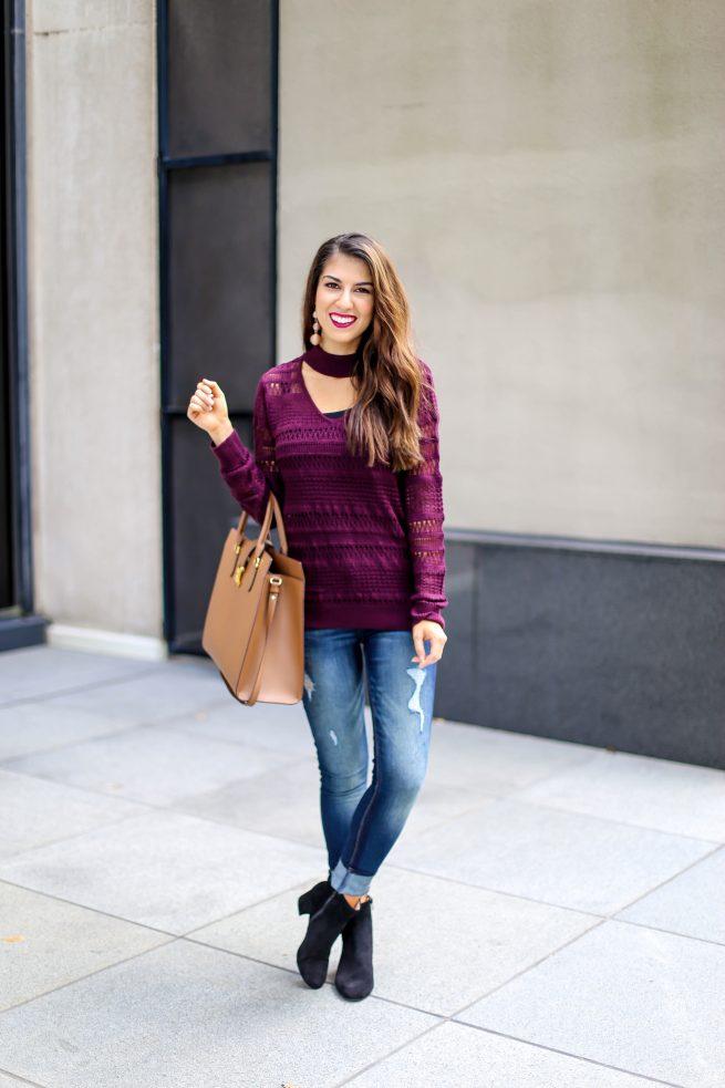 Burgundy Choker Sweater for Fall