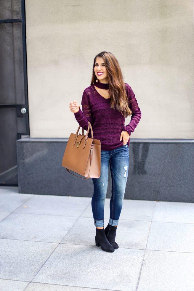 Burgundy Choker V Neck Sweater for Fall