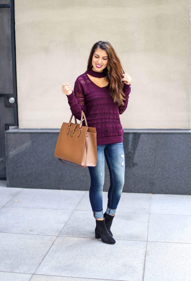 Burgundy Choker V Neck Sweater