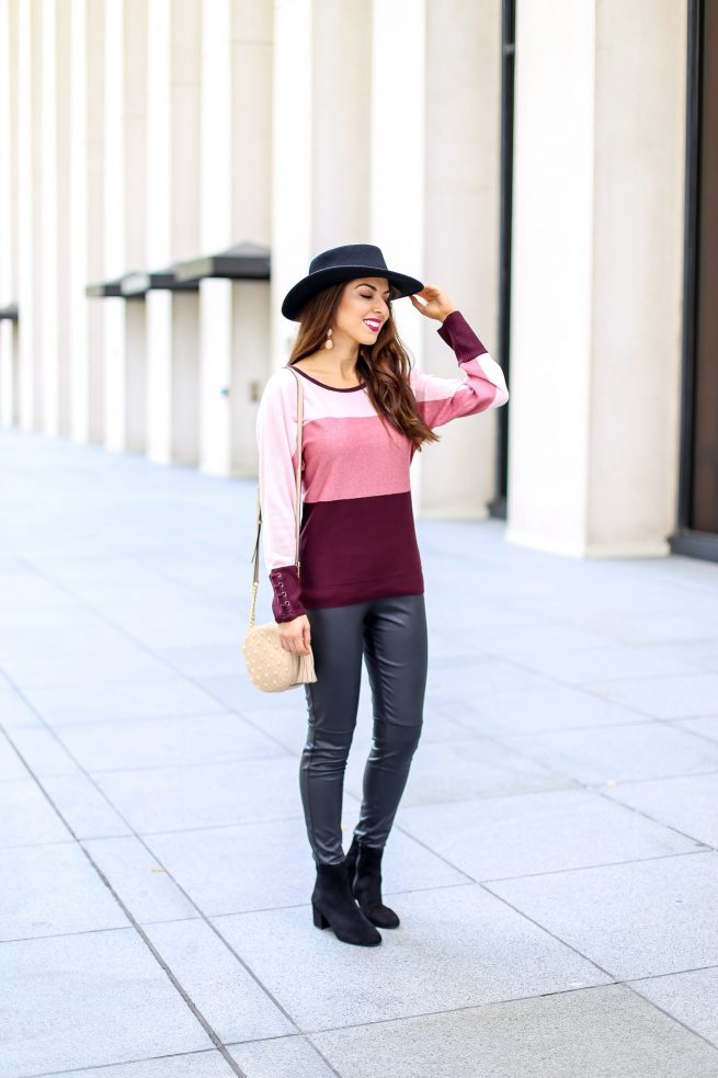 Colorblock Sweater and Faux Leather Leggings