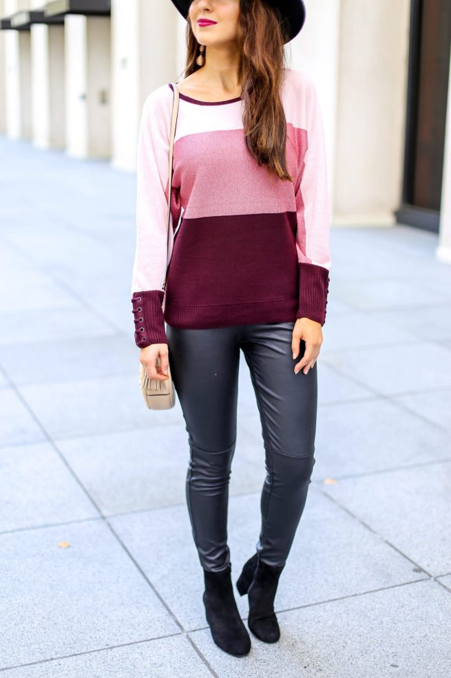 Colorblock Sweater and Leather Leggings