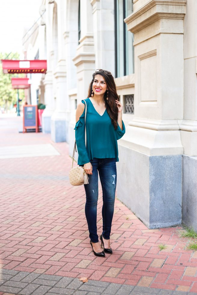 Jewel Tone Cold Shoulder Blouse for Fall
