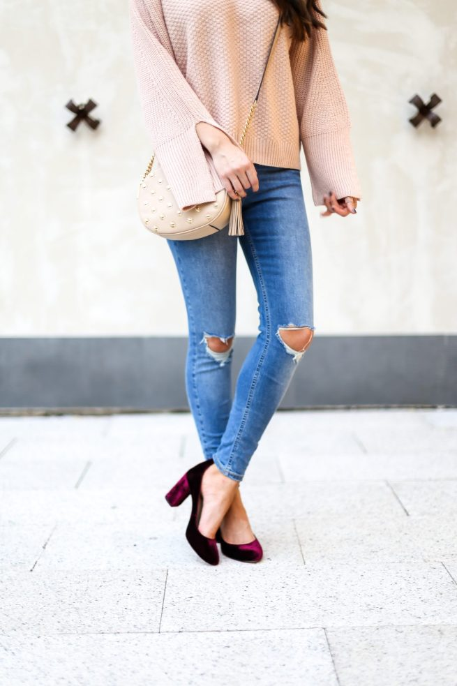 Nude Sweater with Burgundy Velvet Pumps
