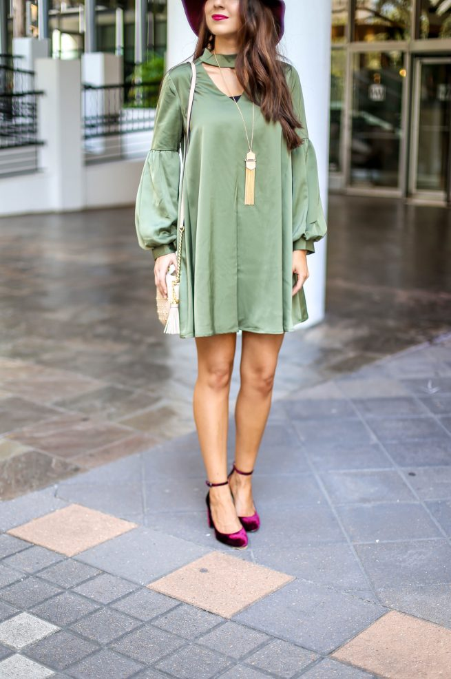 Olive Choker Dress with Bubble Sleeves