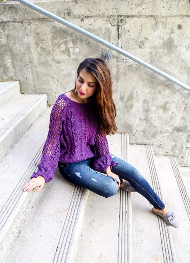 Purple Knit Pullover Sweater and Denim Style for Fall
