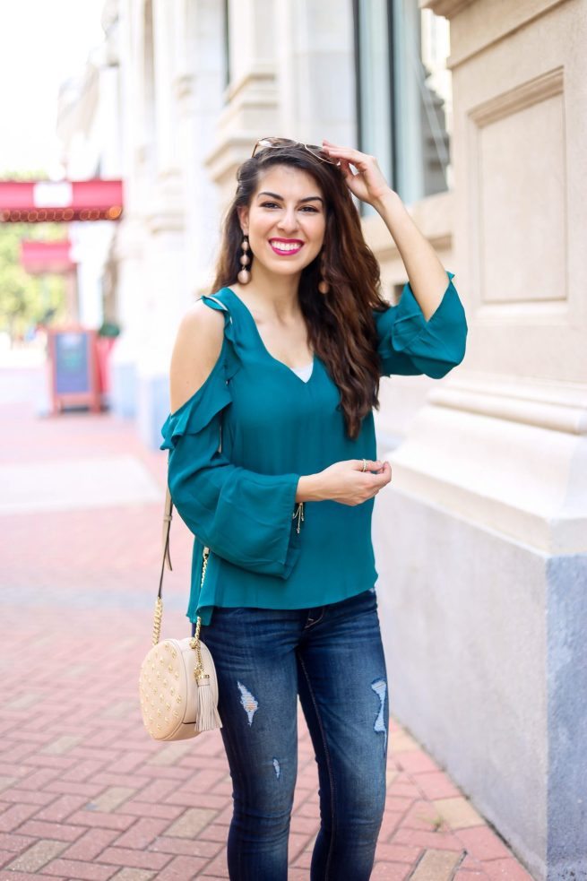 Teal Cold Shoulder Ruffle Top