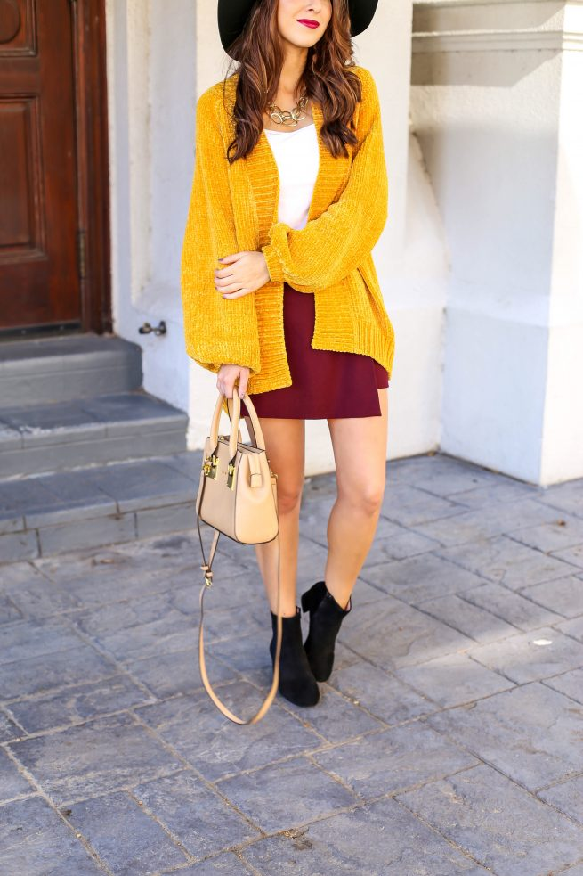 Blouse Cardigan for Fall and Burgundy Skort