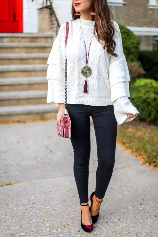 Cable Knit Tiered Sweater for Fall