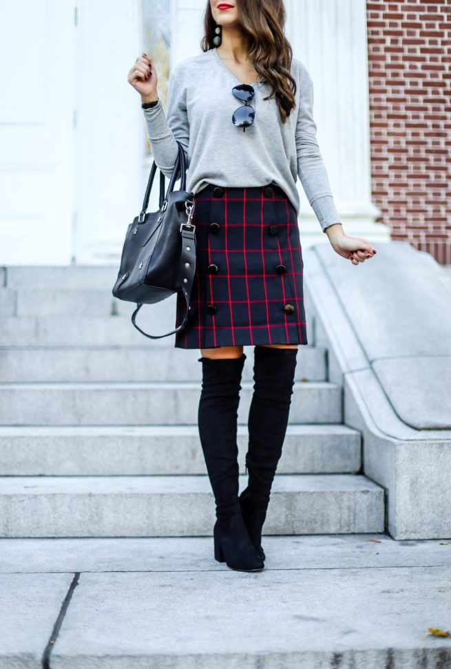Grey Sweater and Plaid Skirt..