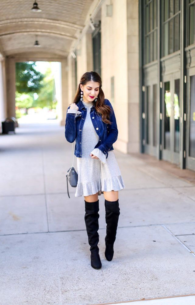 How to Style a Denim Jacket with a Dress for Fall