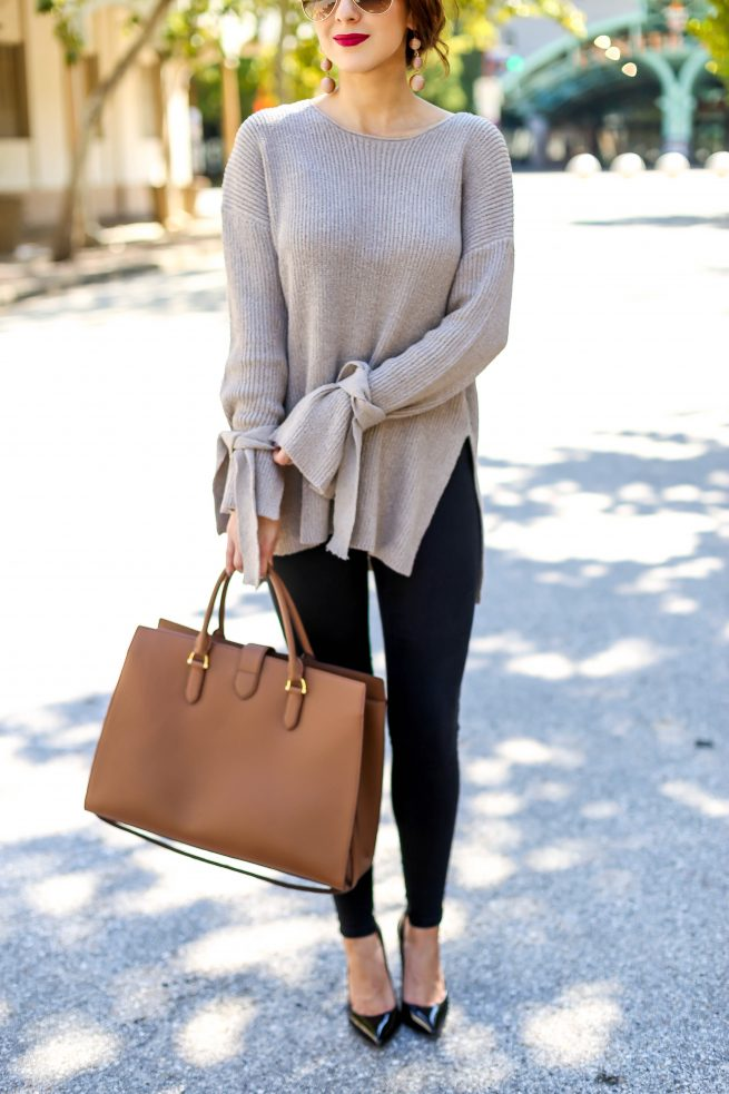 Perfect Fall Tunic Sweater with Tie Sleeves