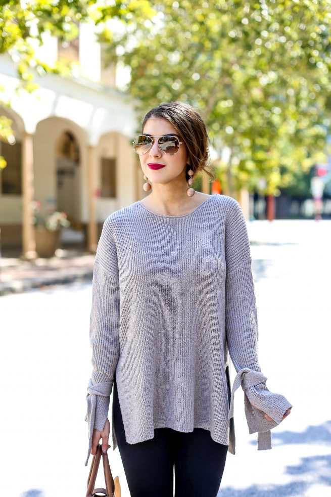 Perfect Tunic Sweater with Tie Sleeves