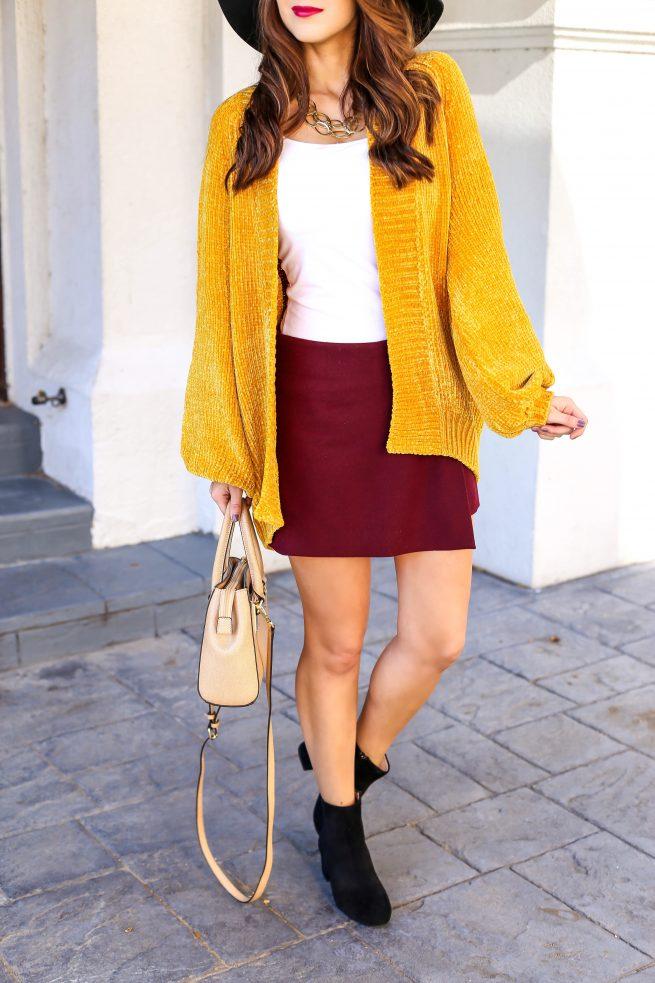 Cardigan and Burgundy Skirt for Fall