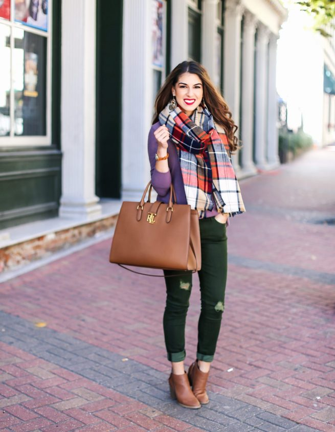 Sweater and Scarf with Olive Jeans