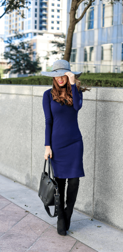 Blue Choker Dress for Fall