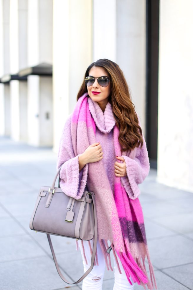 Cozy Pink Sweater and Pink Plaid Scarf