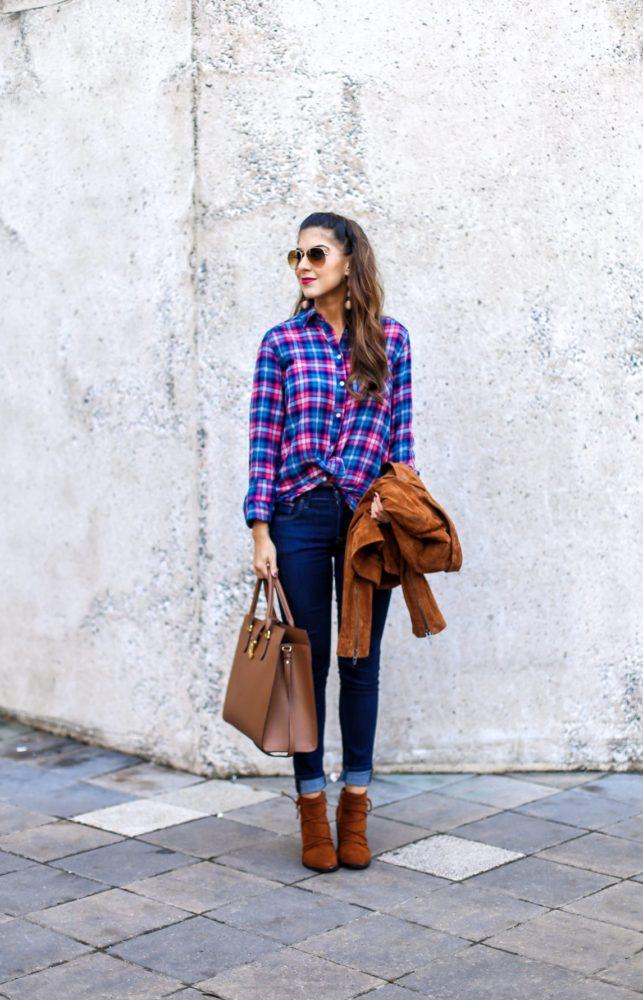 Flannel Boyfriend Shirt with Suede Moto Jacket