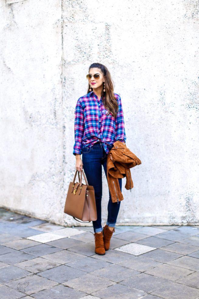 Flannel Boyfriend Top with Suede Jacket Denim Style