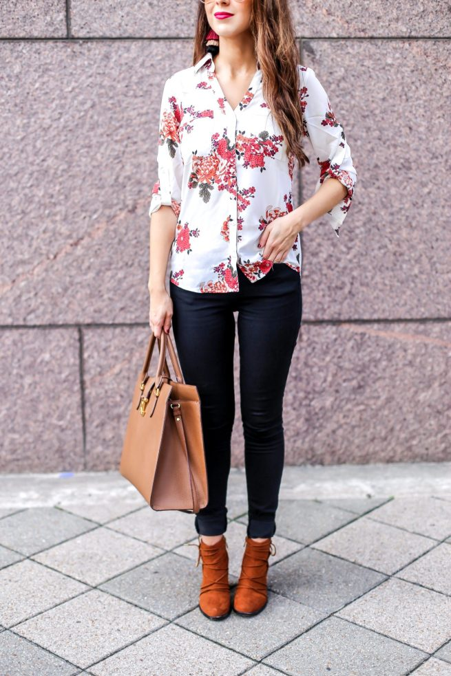 Floral Blouse for Work to Dinner