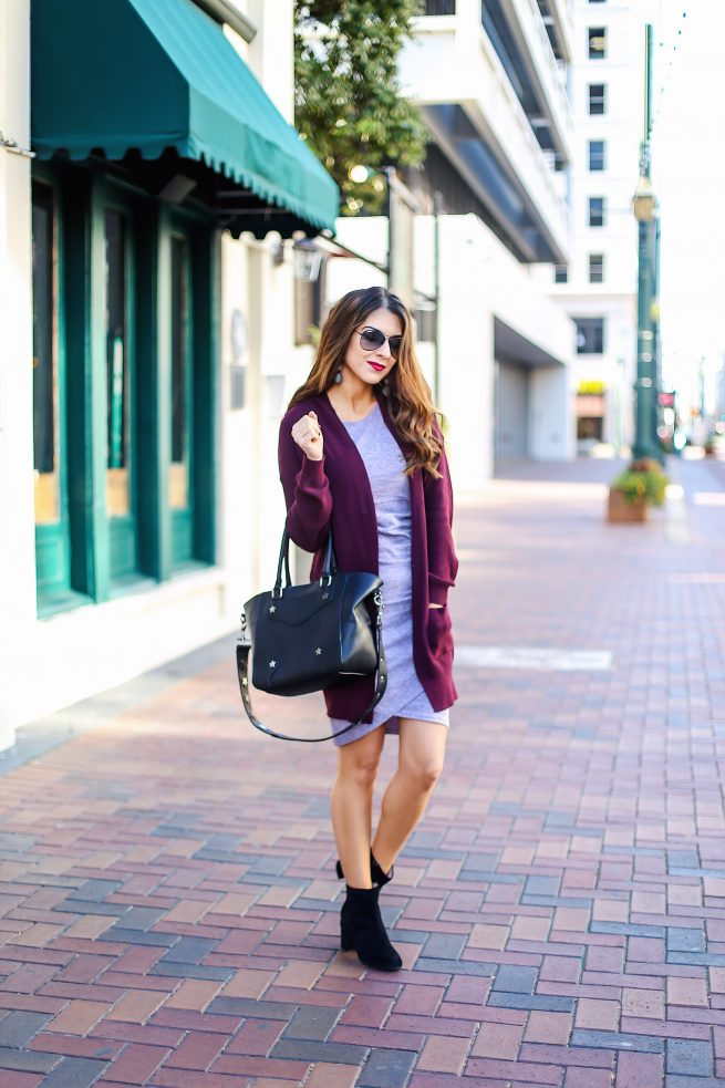 Cardigan and Body Con Dress for Fall