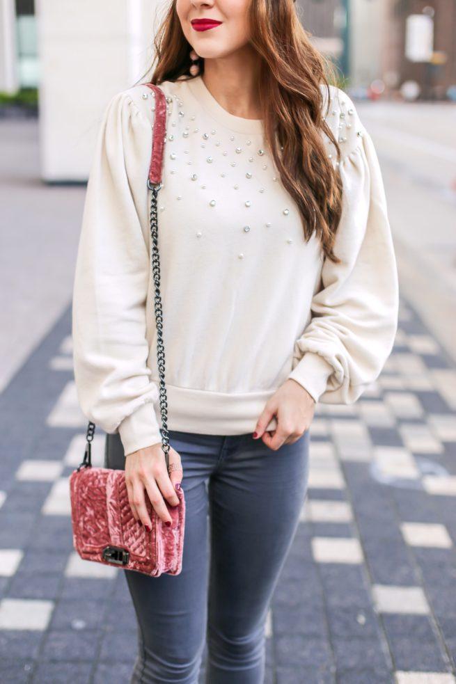 Pearl Embellished Puff Sleeve Sweatshirt