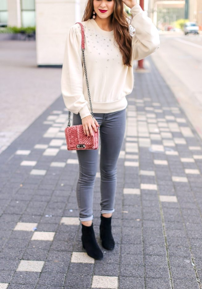 Pearl Embellished Puff Sleeve Sweatshirt with Grey Jeans