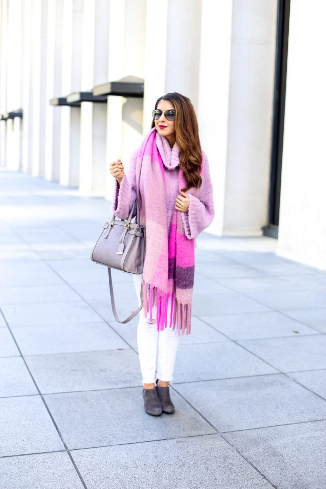 Pink Cowl Neck Sweater and Pink Scarf