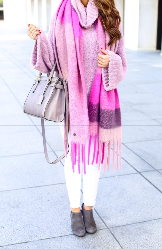 Pink Plaid Fringe Scarf and Pink Sweater