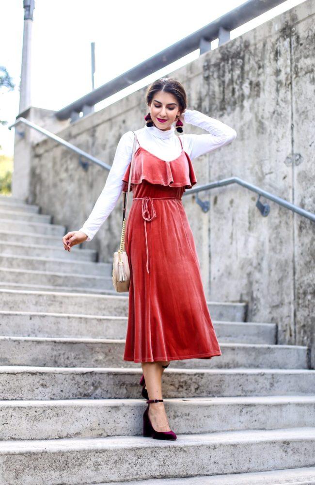 Rust Velvet Midi Dress