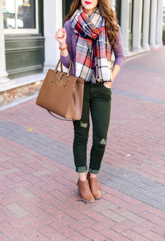 Sweater and Scarf and Olive Jeans Look