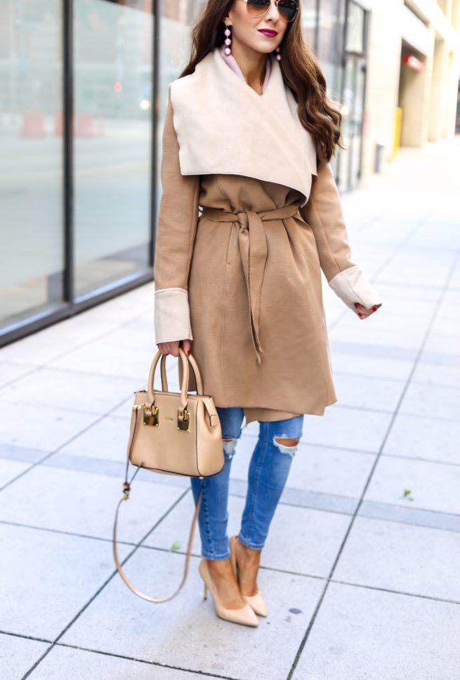 Beautiful Classy Camel Wrap Coat..