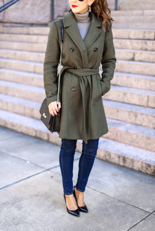 Beautiful Olive Trench Coat for Winter