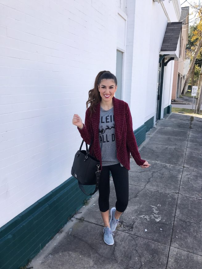 Chenille Cardigan and Comfy Outfit
