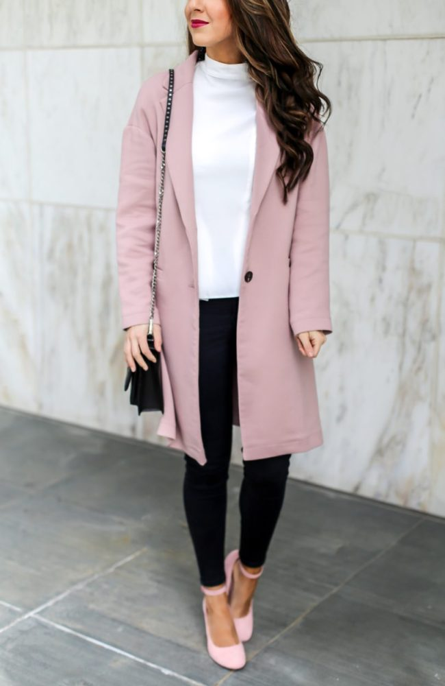 Classic Pink Coat Styled for Work
