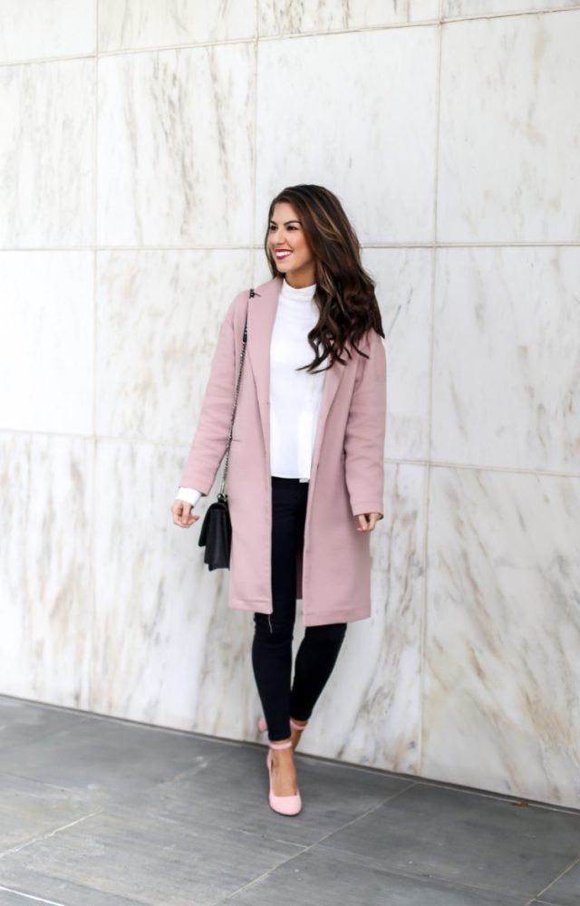 Classic Pink Coat and Blouse Style