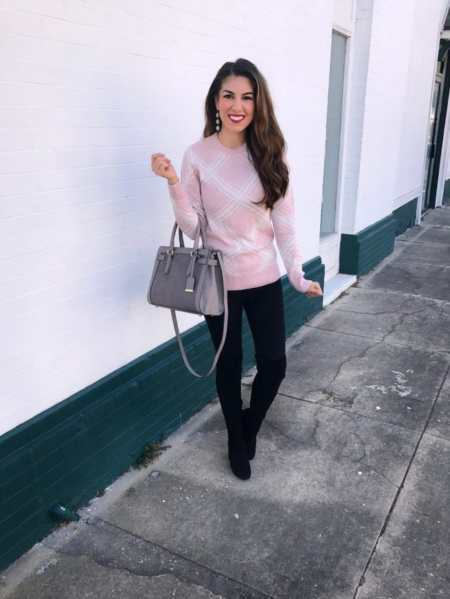 Cozy Pink Sweater and Over the Knee Boots
