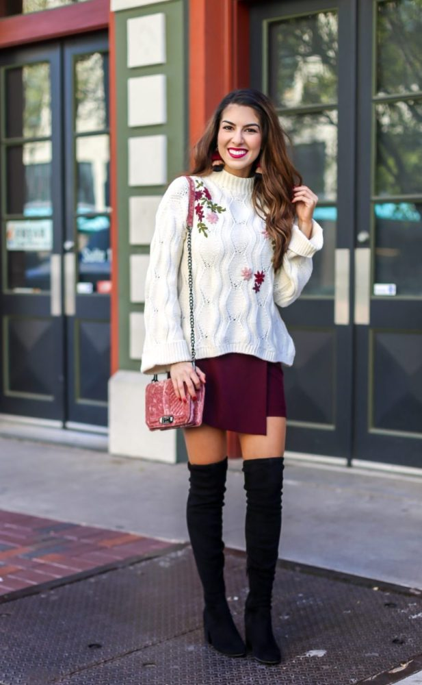 Embroidered Knit Sweater and Skirt